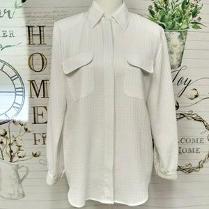 ❤Joanna Solid White Button Down Blouse Size M